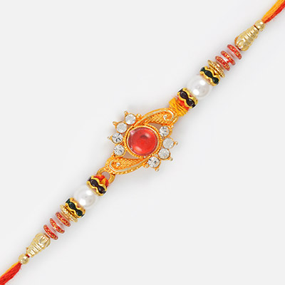 Simple Elegant Gloden Diamond Rakhi with Pearl