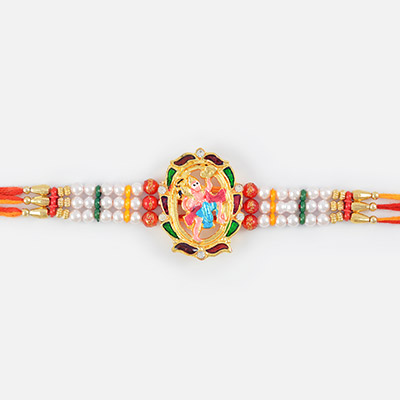 Attractive golden Rakhi of Hanuman with pearl and Kundan Work