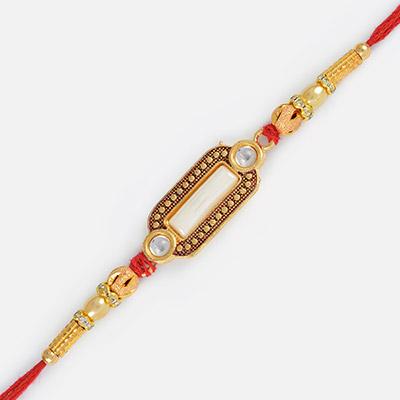 Beauty of Simplicity-Simply Kunadan Work Diamond Rakhi