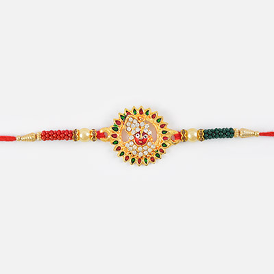 Golden look of Lord Krishna with Golden base n beads in authentic Red mauli Rakhi