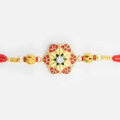 Kundan Diamond in Mid of Meena Work Leaf Design ed Rakhi for Brother