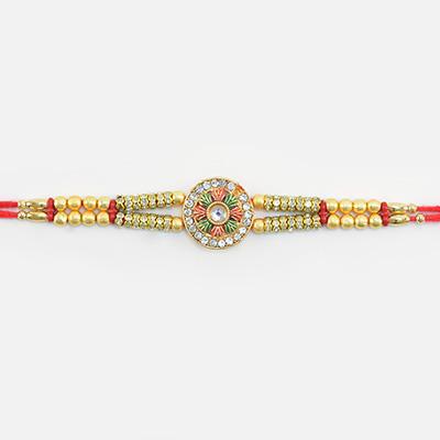Meena Work Jewel Studded Flower Shape Golden Rakhi