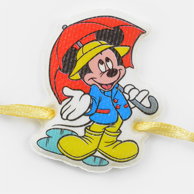 Mickey Mouse with Red umbrella Kids Rakhi