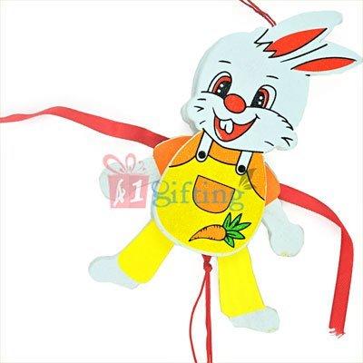 Rabbit in Playful Mood with Carrot Cartoon Rakhi
