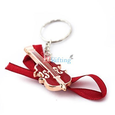 Red golden violin key chain for kids