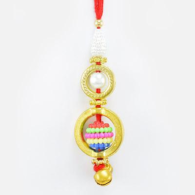 Grace of Pearl and Golden Color Lumba Rakhi