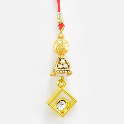 Beautiful Designer Lumba Rakhi with Studded Diamond