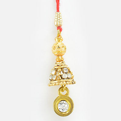 Traditionaly Golden Beads and Diamond Design Lumba Rakhi