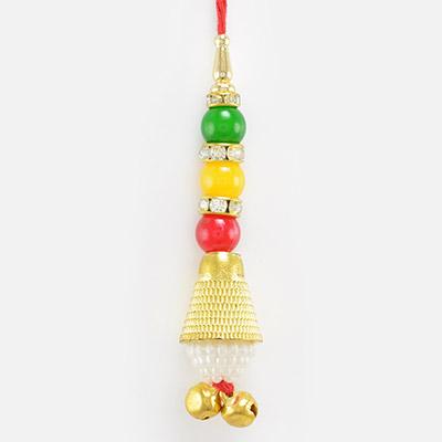 Tri-Color Beads Golden Lumba Rakhi