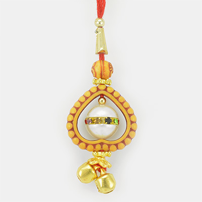 Heart Shape Sandalwood Designer Lumba Rakhi