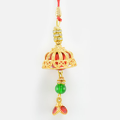 Golden Base Rakhi with Hanging Beads and Diamonds