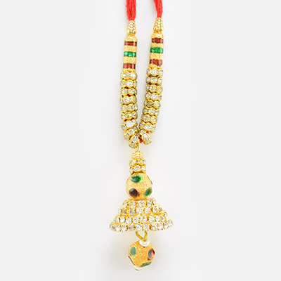 Ear Piece Style Golden and Meena Work Lumba Rakhi for Bhabhi