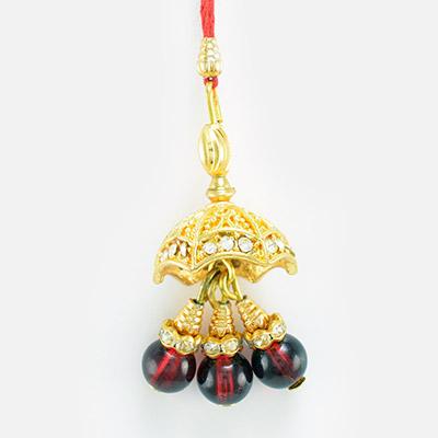 Maroon Rubi Golden Diamond Design Lumba Rakhi for Bhabhi