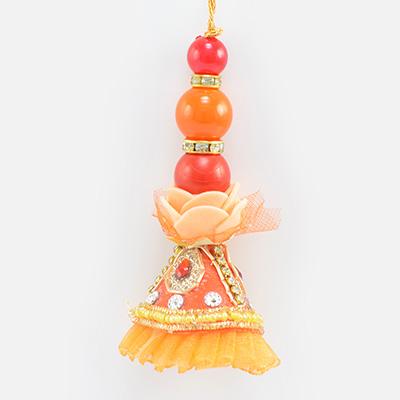 Big Attractive Looking Beads with Zardosi Work Base New Lumba Rakhi