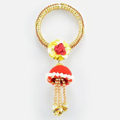 Flower Design Kada with Floating Beads and Pearl Stylish Lumba Rakhi