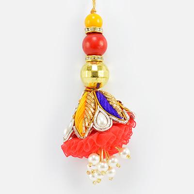 Zardosi Work Colorful Design and Beads Unique Lumba Rakhi