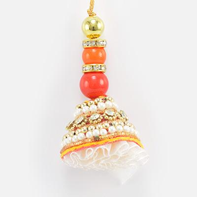 Fine Work of Beads and Cotton Special Lumba Rakhi for Bhabhi