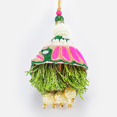 Special Pink and Green Color with Beads Work on it Nice Looking Lumba Rakhi