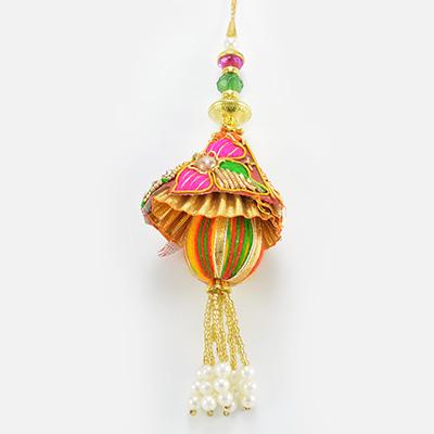 Big Colored Bead With Zardosi Work Base Design er Awesome Lumba Rakhi