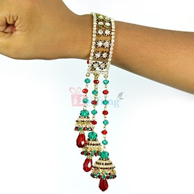 Wonderful Long Diamond Beads Triple Bell Lumba Bhabhi Rakhi