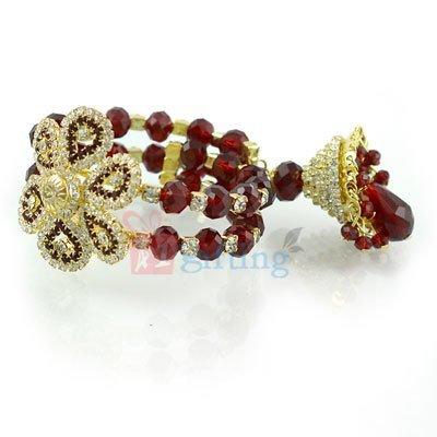 Wonderful Look Diamond Flower Beads Lumba Rakhi for Bhabhi