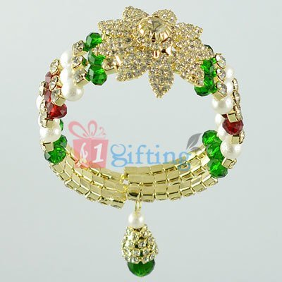Beautiful Diamond Flower Pearl Beads Lumba Rakhi for Bhabhi