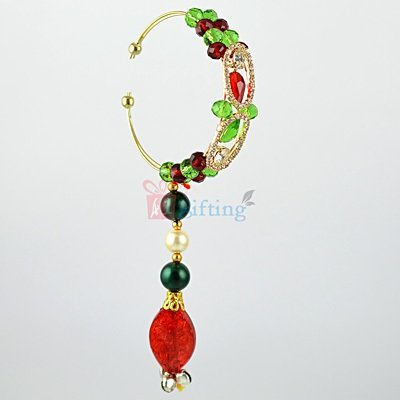 Beautiful Lumba Rakhi with Multicolor Beads and Jewels