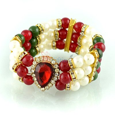Superb Pearl Diamond Bracelet Rakhi for Bhabhi or Ladies