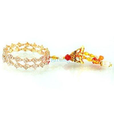 Beautiful Designer Bangle Diamond Zardozi Beads Lumba Rakhi