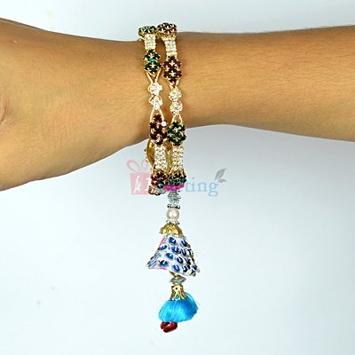 Amazing Diamond Bangle Lumba Rakhi for Bhabhi