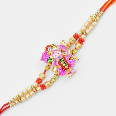 Pink Colored Lord Krishna Rakhi with Mauli Base