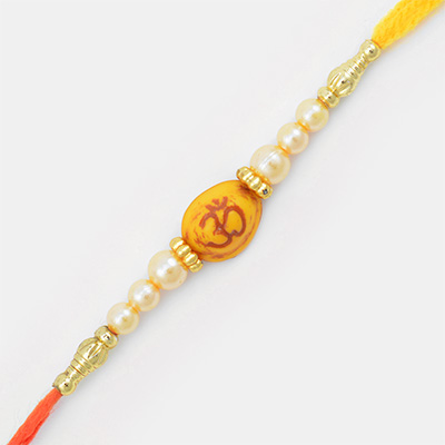 Sindoori Om on Yellow Color Base Mauli Rakhi with Pearl