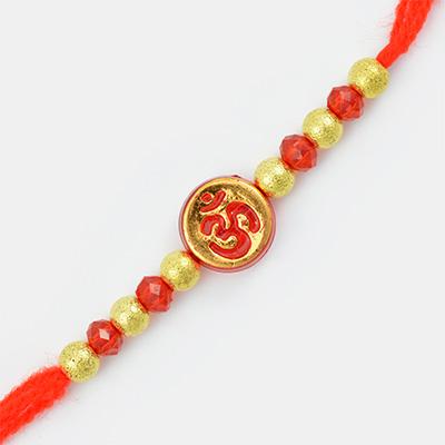Round Shape Golden Base Red Om mauli Rakhi