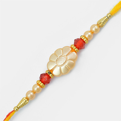 Sun Flower Golden designed Mauli Rakhi with Pearl