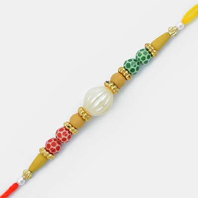 Central Big White Pearl Sandalwood type Mauli Rakhi