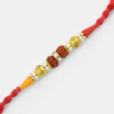 Two Rudraksh with Diamond and Pearl Mauli Rakhi