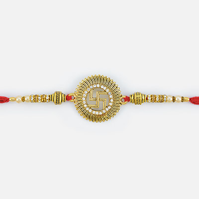 Golden Base Swastik studded Diamond Pearl Rakhi with beads