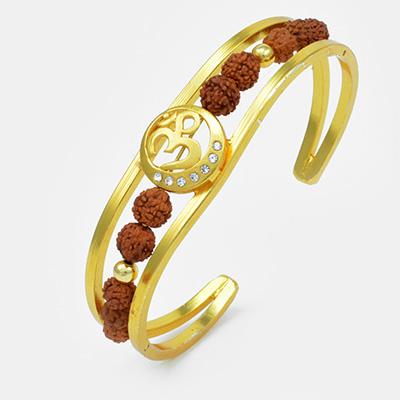 Beautiful Golden Designed Om Rudraksh Bracelet Rakhi