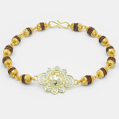 Floral Shape Golden Swastik with Rudraksh Bracelet Rakhi