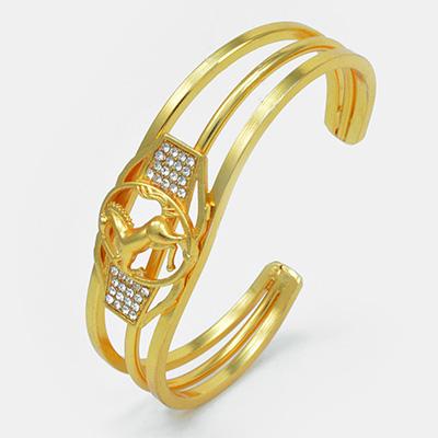 Round Shape Golden Designed Unicorn Rakhi with Diamonds