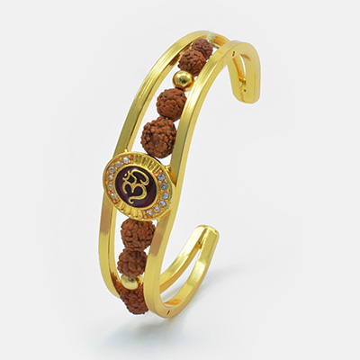Wonderful Golden Color Om Rudraksh Bracelet Rakhi