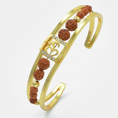 Eye-Catching OM Rudraksh Gloden Rakhi Bracelet