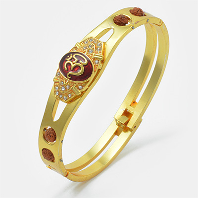 Om Designed with Rudraksh Golden Bracelet Rakhi