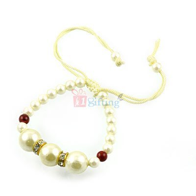 Amazing Big Pearl and Jewel Rakhi Bracelet for Loving Brother