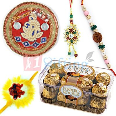 Chocolate Rakhi Thali to India