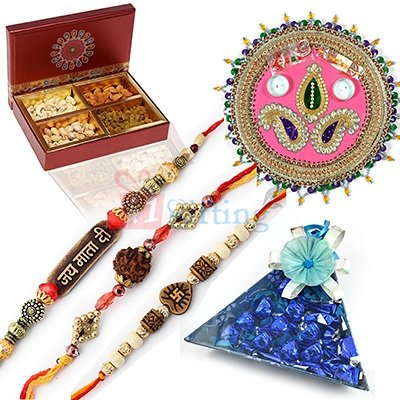 Dryfruits Rakhi Thali to India