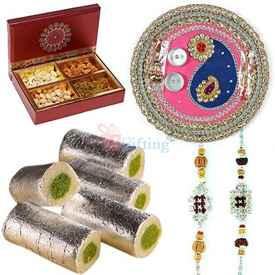 Mithai Rakhi Thali to India