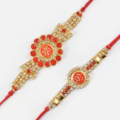 Sparkling Red and Silver Diamond Studded Shree and Om Rakhi Set