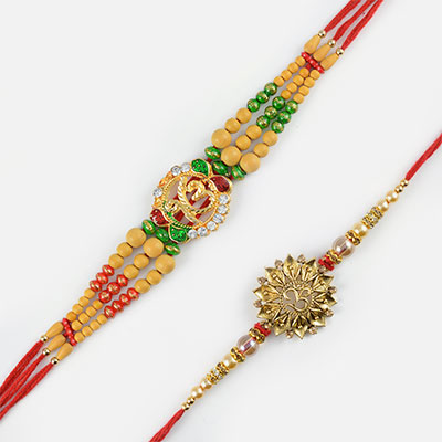 Golden Om Beads Rakhi Set