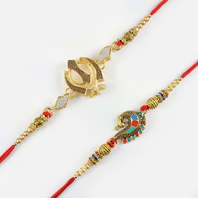 Sparkling Khanda and Beautiful Peacock Rakhi Set